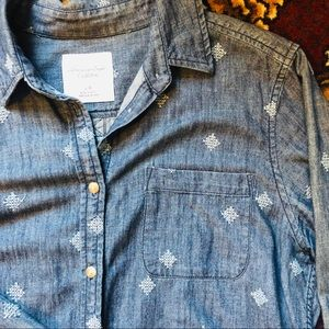 EUC AE patterned denim button up